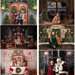 Christmas Photography Backdrop Windows Fireplace Photocall Winter Snow Portrait Background Photo Studio Christmas Tree Gifts Toy