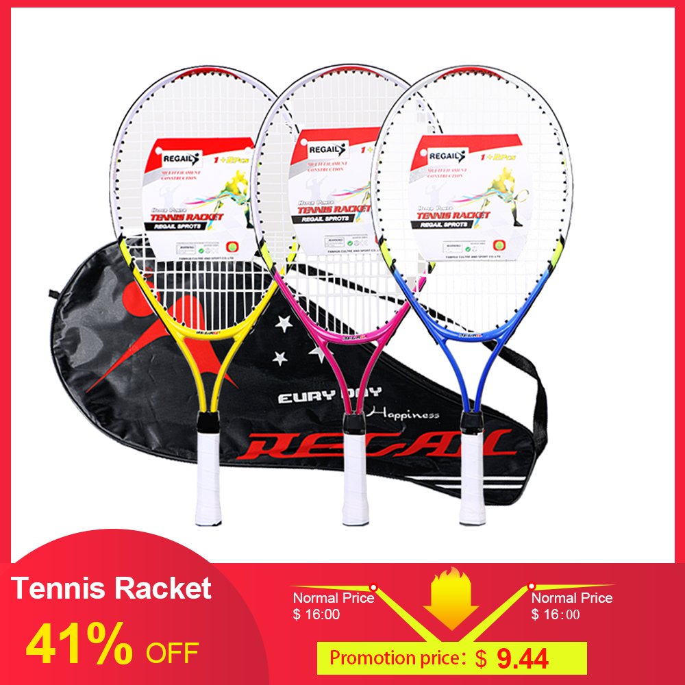 REGAIL 1 Pcs Only Teenager's Tennis Racket Aluminium Alloy  Frame With Firm Nylon Wire Perfect For Chindren Kid Tennis Training