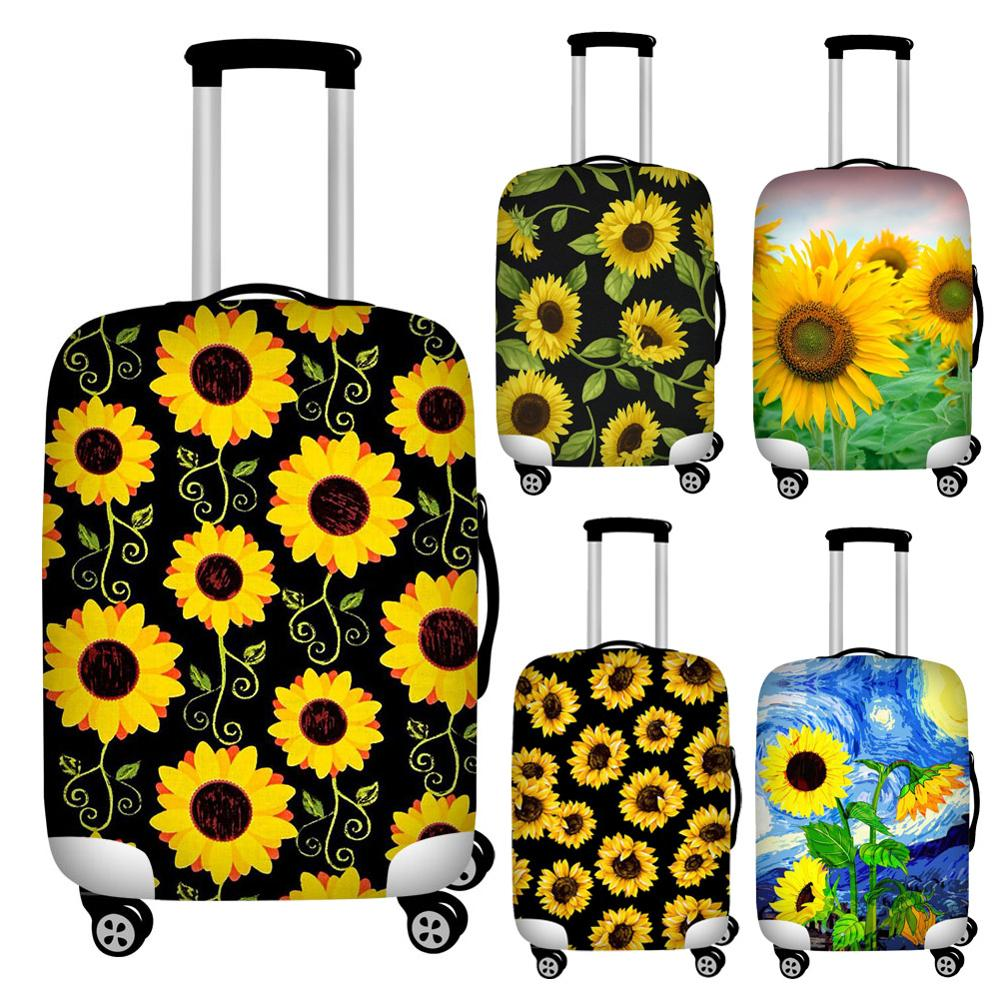 FORUDESIGNS Sunflower Print Baggage Covers Elastic 18-32inch Travel Suitcase Cover Waterproof Luggage Protective Dust Covers
