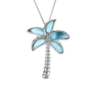 Image 2 - High Quality 100% 925 Sterling Silver Larimar Coconut tree pendant Necklace Party Jewelry for Women