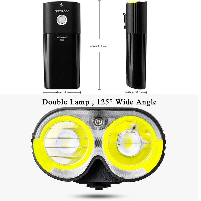 Image 2 - GACIRON Bicycle Light USB Rechargeable Bike Front Headlight  Cycling Flashlight IPX6 Waterproof 5000mAh 1600Lumen LED Lamp 6  Modebike frontbicycle light usbbicycle light