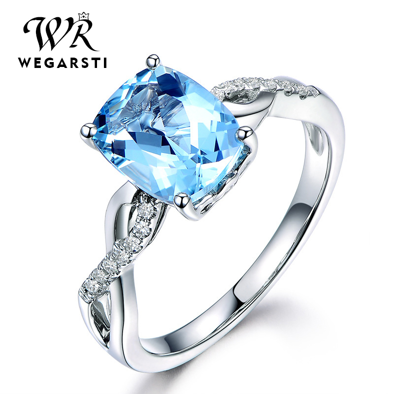 WEGARASTI Silver 925 Jewelry Ring Aquamarine Trendy Party Classic 925 Sterling Silver Rings Jewelry Woman Engagement Gift
