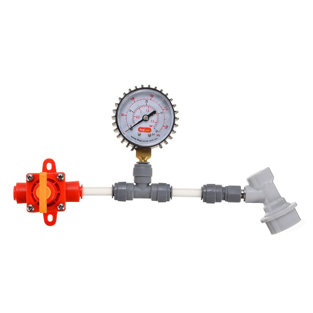New Blowtie Food Grade Acetal Diaphragm Spunding Valve Set - Adjustable Pressure Relief Gauge Ball 0-40 Psi