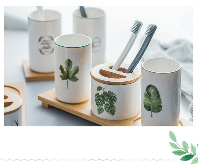 Nordic Ceramic Cups and Toothbrush Holder