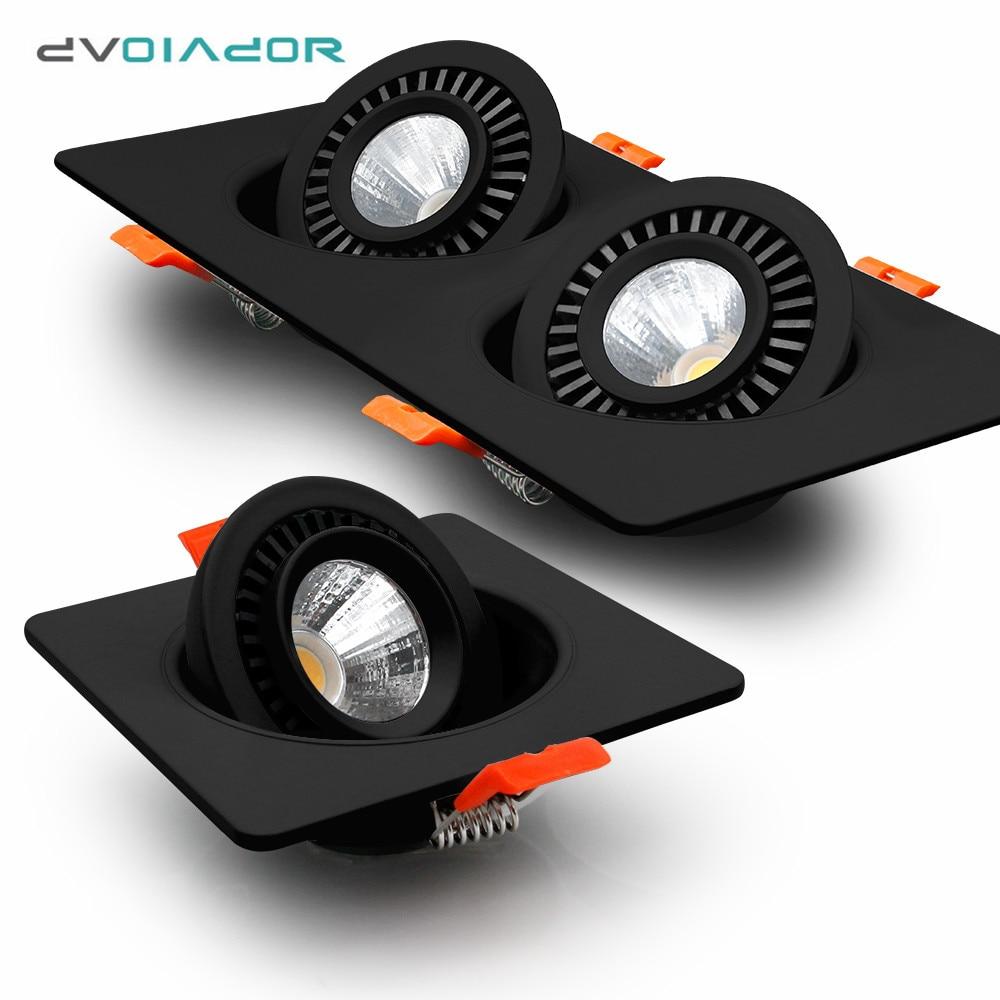 Preto led downlight pode ser escurecido led recessed luzes único/cabeça dupla conduziu a lâmpada do teto do ponto de rotação de 360 graus para a luz do quarto