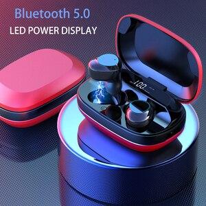 Bluetooth 5,0 наушники, спортивные водонепроницаемые беспроводные наушники, 9D стерео гарнитура, TWS, сканер отпечатка пальца, сенсорный наушник с м...