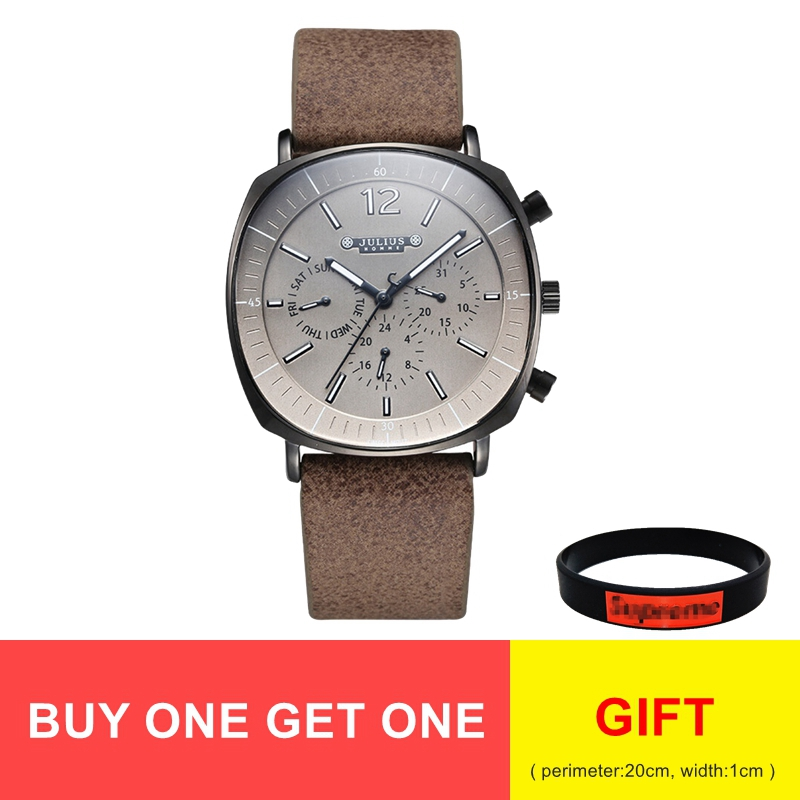 Men Genuine Leather Swiss Quartz Watch Men's Calendar Luminous Hand Waterproof High Quality Homme Wrist Watches Gift Clock Reloj