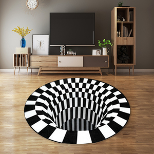 Black And White Spiral 3D Carpet Stereo Vision Circular Carpet Mat Living Room Home Decoration Various Sizes