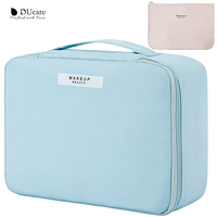 DUcare-Bolsa de maquillaje de viaje Azul, estuche de tren con bolsa pequeña para cosméticos, brocha de maquillaje, joyería de aseo