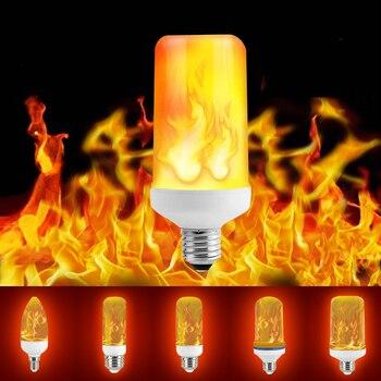 B22 E27 E26 E14 E12 LED Flame Bulb 85-265V LED Flame Effect Fire Light Bulb Flickering Emulation Decor LED Lamp 3W 5W 7W 9W led flame lamp e27 led dynamic flame effect corn bulb 220v led e14 flickering fire light bulb 5w 7w e26 emulation burning decor