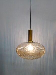 Image 5 - Color Pendant Lights Glass Hanging Lamp Green Gray Shade Kitchen Dining Room Bar Nordic Led Pendant Lamp Modern luminária E27