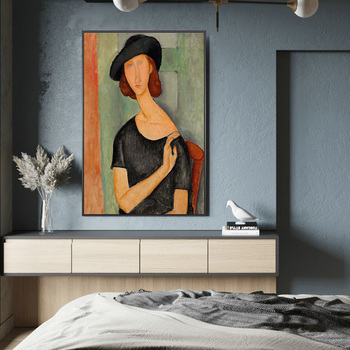 Portrait of Jeanne Hebuterne Canvas Paintings By Modigliani Famous Wall Art Posters And Prints Nordic Art Pictures Wall Decor image