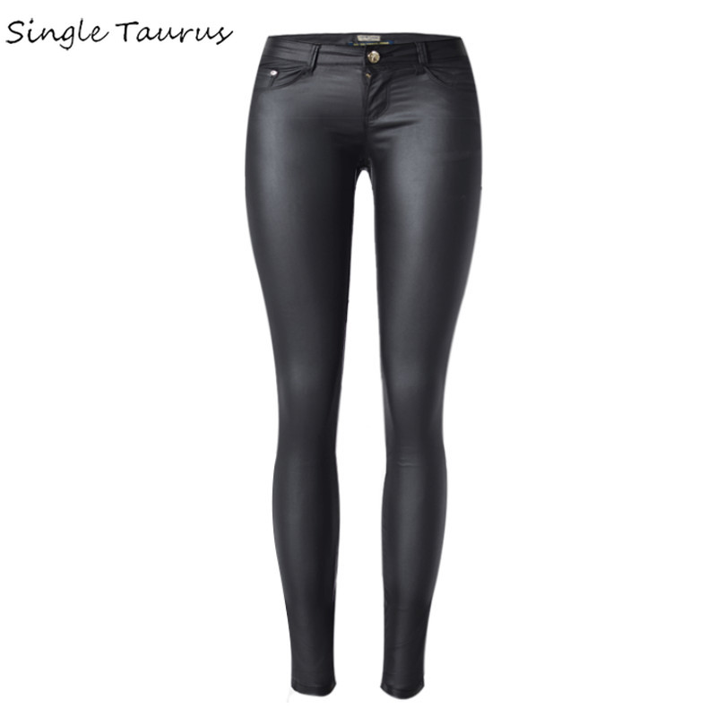 Low Waist Leather Pu Skinny Jeans Women Sexy Push Up Black Pencil Pants Mujer Pantaloni Donna Europe Plus Size Trousers Femme