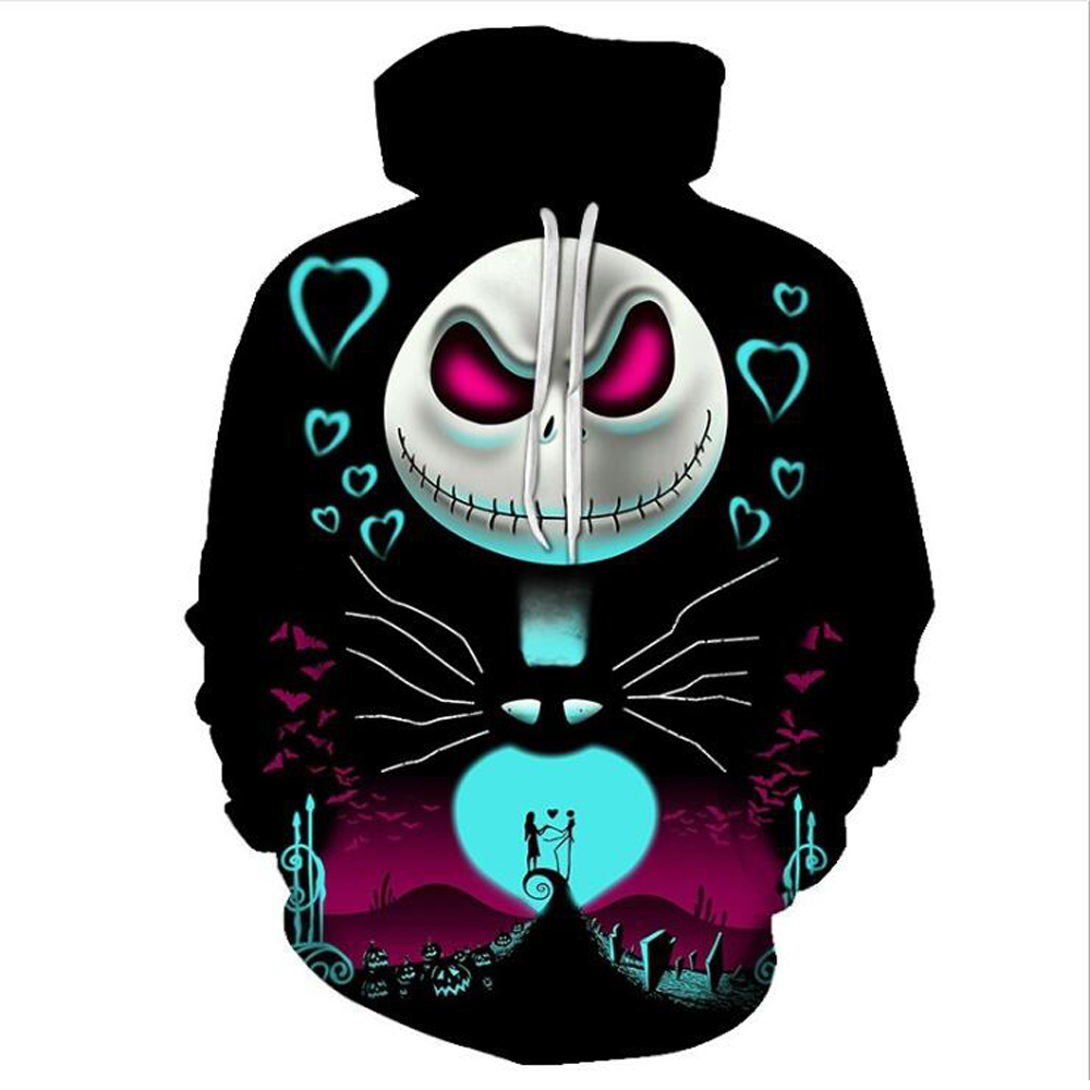 The Nightmare Before Christmas Jack Skull Cosplay Hoodie Men Women Fashion Hooded Pullover Sweatshirts Halloween Costumes Tops