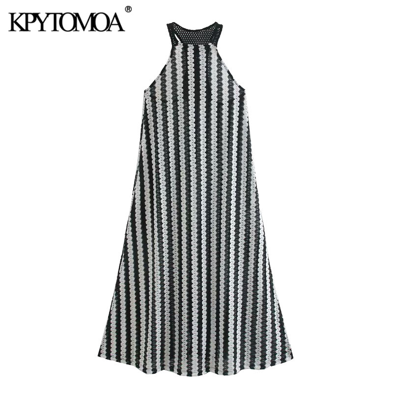 KPYTOMOA Women 2020 Chic Fashion Semi-sheer Patchwork Lace Midi Dress Vintage Halter Collar Backless Side Vents Female Dresses