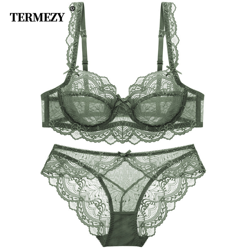 TERMEZY Ultra-thin Cup Sexy Lace Underwear Transparent Bra Set Bow Decoration Lingerie Comfortable Brassiere And Panties Set
