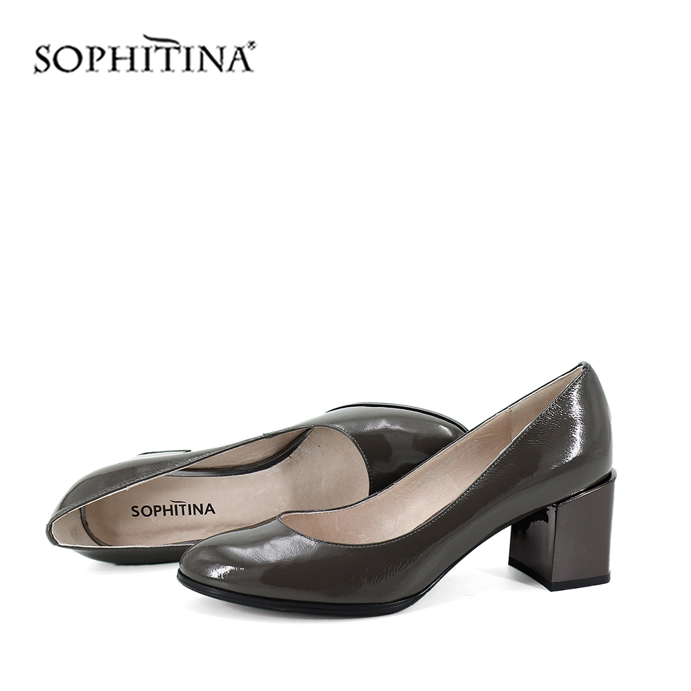 SOPHITINA Patent Leather Gray Pumps Hot Sale High Square Heel Pointed Toe Shallow Leisure Women Shoes Stylish Sexy Pumps SC185