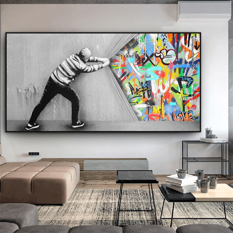 Behind the Curtain Graffiti Painting Canvas Posters and Prints Street Wall Art Picture for Living Room Cuadro Home Decor tableau