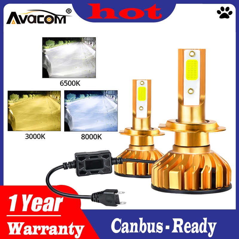 Avacom 2 pcs  h4 led h7 Car Headlight Bulbs Kit LED 3000K 6500K 8000K 72W 8000LM H1 H11 9005 HB3 9006 HB4 H8 H9 Auto Headlamp