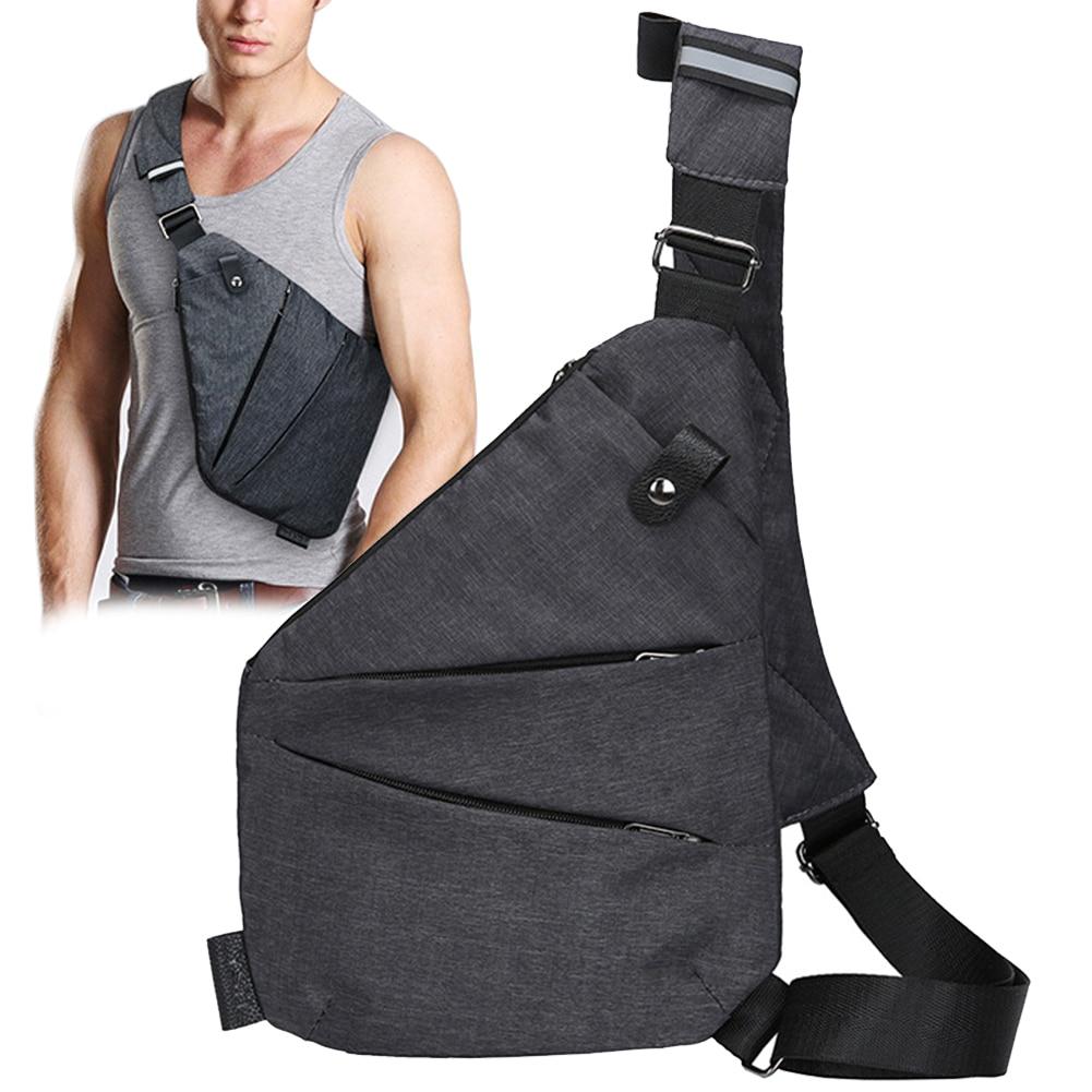 Men Waist Bag Phone Holder Soft Sports Chest Pack Canvas Travel Single Shoulder Casual Messenger