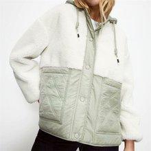 ZXQJ 2020 mujeres moda gruesa WarmFleece paneles capucha chaqueta abrigo Vintage manga larga bolsillos ropa femenina Chic Tops