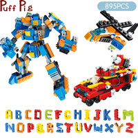895pcs Deformationed English Letters Robots Building Block Set Legoingly City Car Helicopter Bricks Educational Toy for Children