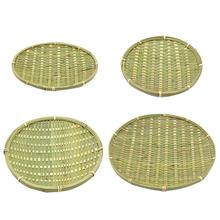 Handmade Bamboo Braided Plate Sieve Round Snack Dish Fruit Basket Eco-friendly