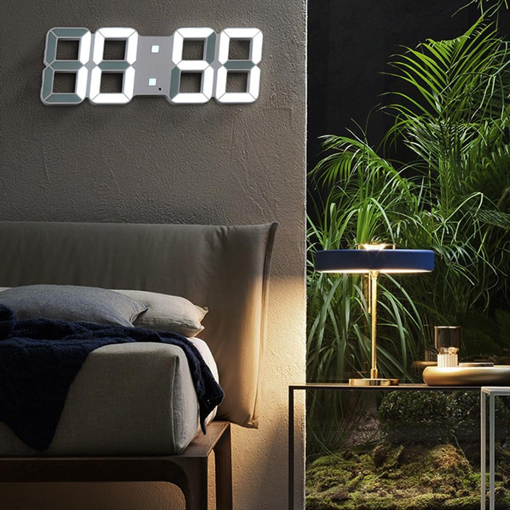 3D светодиодный цифровой настенные часы Дата Время ночник Дисплей настольные часы будильник домашний декор для гостиной современный дизайн|Будильники|   | АлиЭкспресс