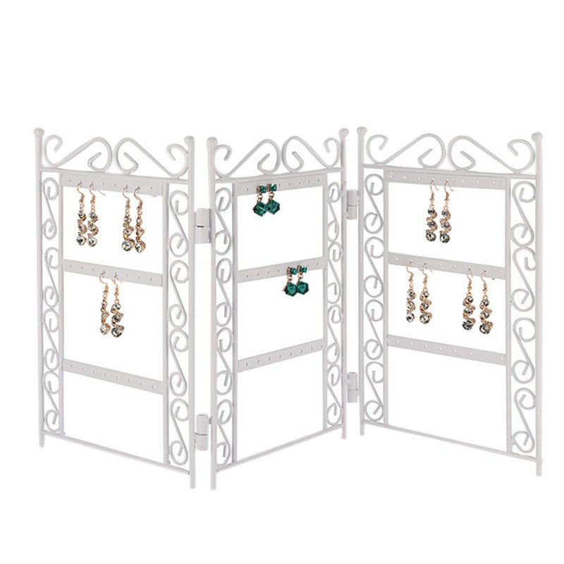 Jewelry Organizer Folding Earrings Display Stand Wrought Iron Jewelry Storage Rack Earring Stud Organizer New