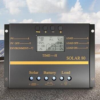 80A PWM Solar Controller 12V 24V Auto Charger Controller LCD Display Solar Panel Battery Charging Regulator USB 5V