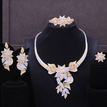 LARRAURI 2020 New 4PCS Luxury Party Flower Nigerian Jewelry Set For Women Wedding Zircon Indian African Bridal Jewelry Sets(China)
