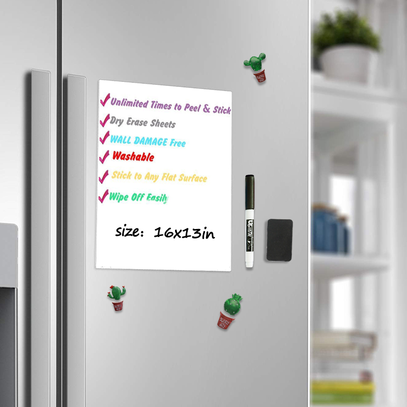 Magnetic Whiteboard For Refrigerator Sticker 16*13 Inch Dry Wipe Kids Writing Painting Shopping List Schedule Message Board