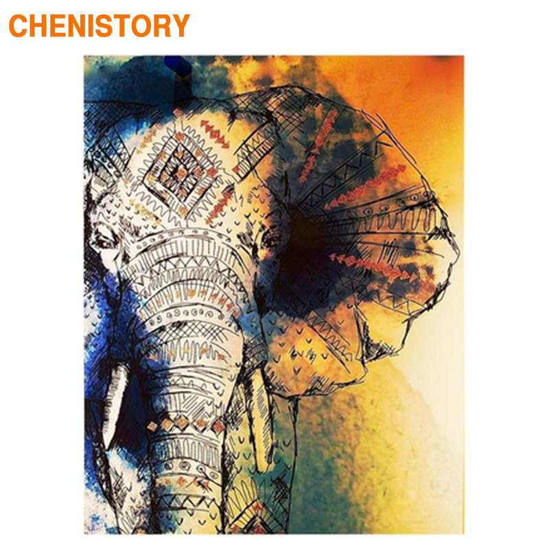 CHENISTORY Frame DIY Painting By Numbers Kit Elephant Animals Vintage Canvas Painting Coloring By Numbers For Home Decors Arts