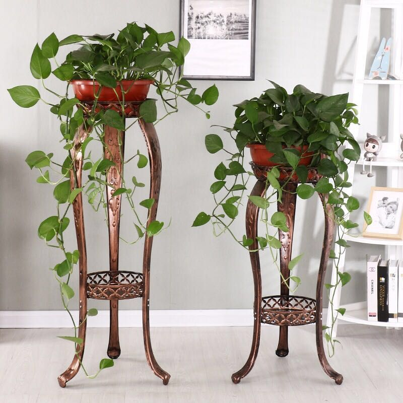 European Wrought Iron Flower Stand Green Luo Lan Lan Living Room Floor Indoor Imitation Wood Flower Pot Rack Floor Flower Stand