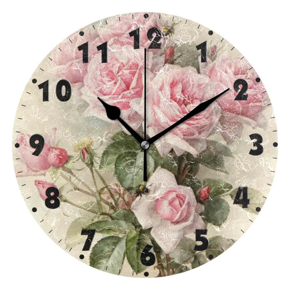 Vintage Shabby Floral Printed Silent Wall Clock Round 25Cm Kitchen Clock Chic Pink Rose Flower Quiet Desk Clock For Living Room