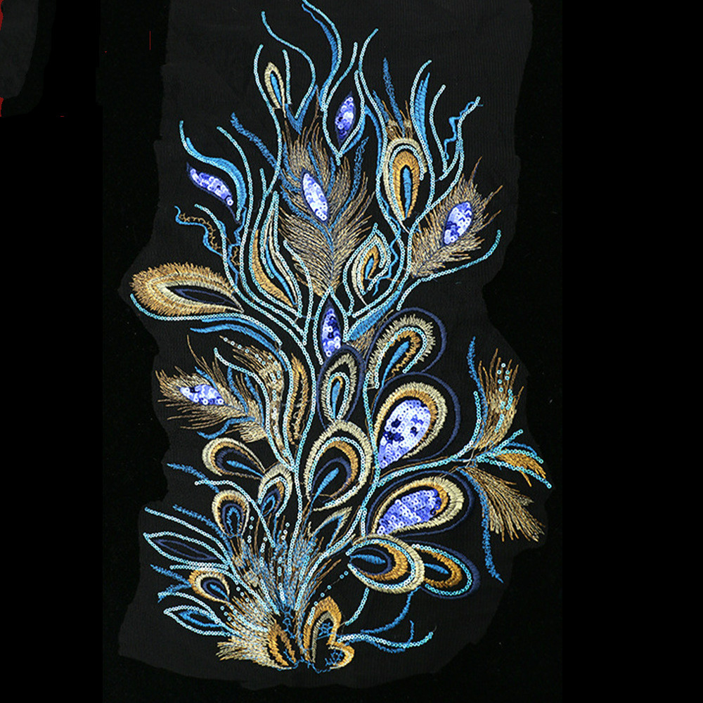 Feather Cloth Computer Embroidery Phoenix Tail Feather Cloth DIY Accessories Wholesale