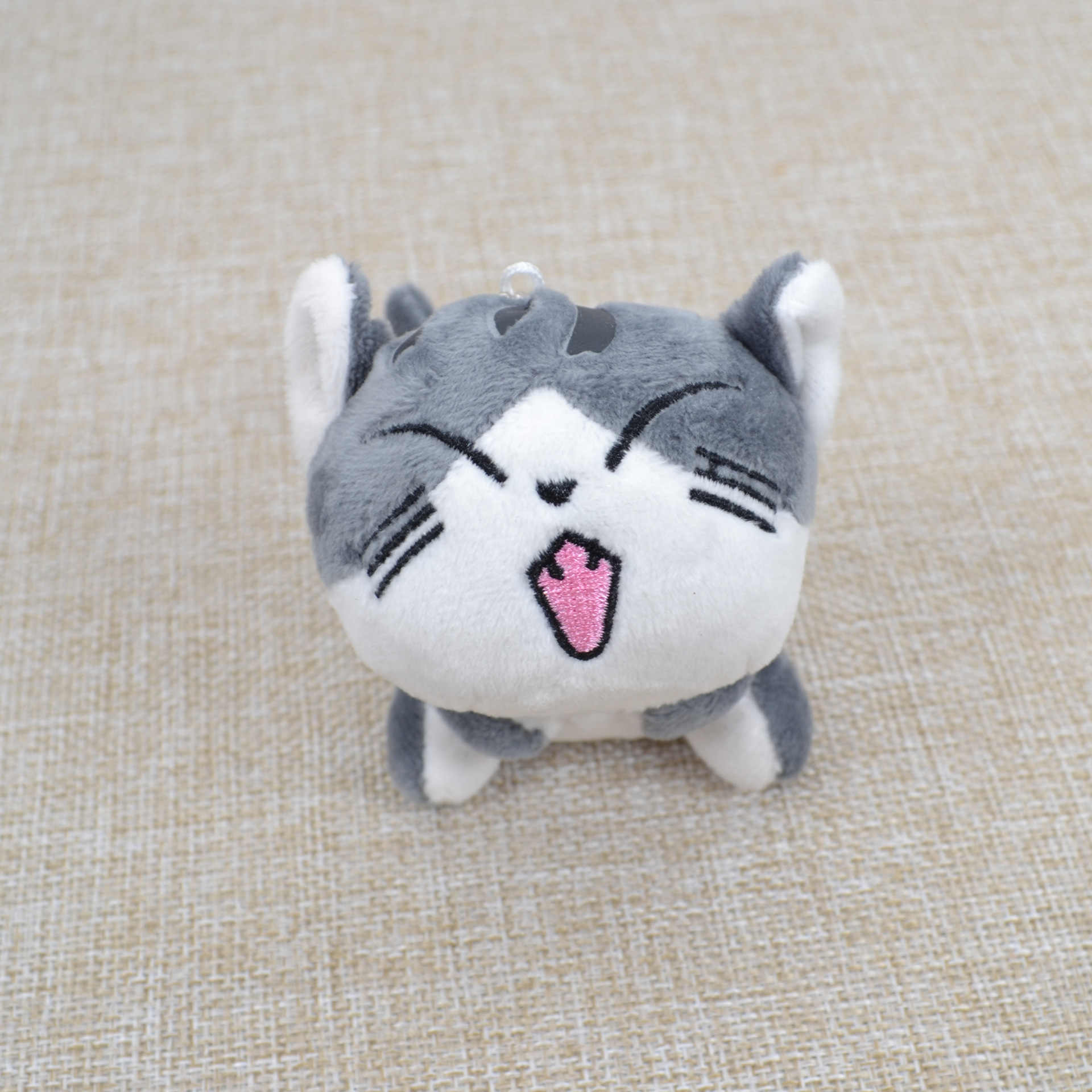 9 cm kawaii macio de pelúcia gato boneca gato chaveiro cinza sentado gato pelúcia brinquedos buquê presente de pelúcia brinquedo de pelúcia boneca de gato de flor presente