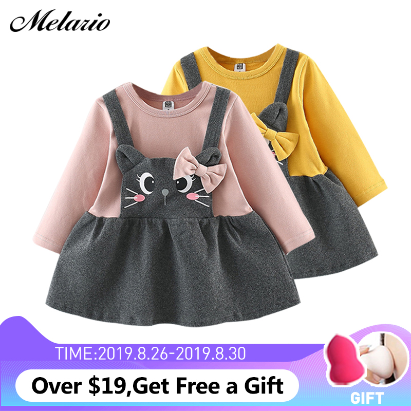 Melario Baby Dress Autumn Full-Sleeve Winter Cat-Print