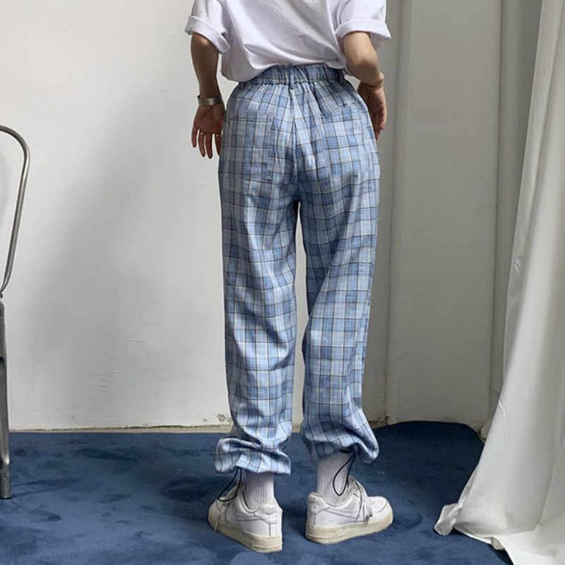 Pantalons femmes ample Plaid doux Preppy filles taille élastique Style coréen mince décontracté quotidien Chic à la mode cheville-longueur Harem pantalon