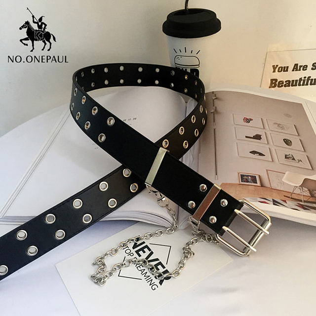 Genuine Leather New Punk style fashion Pin Buckle Decorative Chain luxury brand belts for women 3