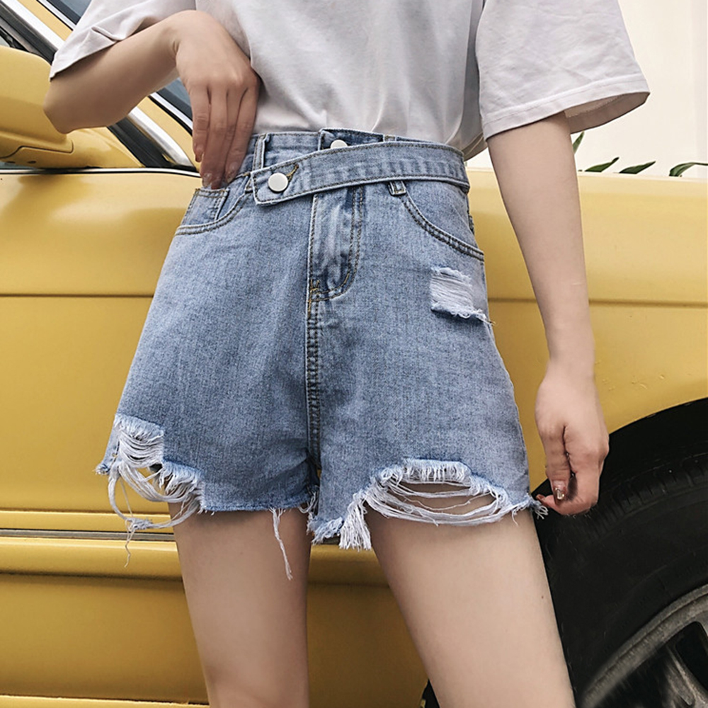 WENYUJH 2020 Fashion Female Short mujer Women Summer Light Blue Hole Denim Shorts Loose Personality Raw Wide Leg Denim Shorts