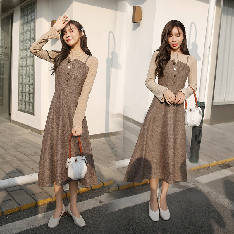 Autumn And Winter New Style Woolen Jumper Dress Women's Mid-length Waist Hugging Slimming A- Line Strapped Dress Two-Piece Set