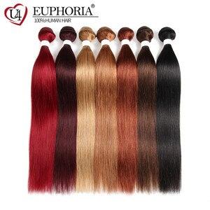 Image 3 - Düz saç demetleri anlaşma 1/3 adet 99J kırmızı Burg 4 doğal renk brezilyalı Remy insan saç uzatma demetleri saç dokuma Euphoria