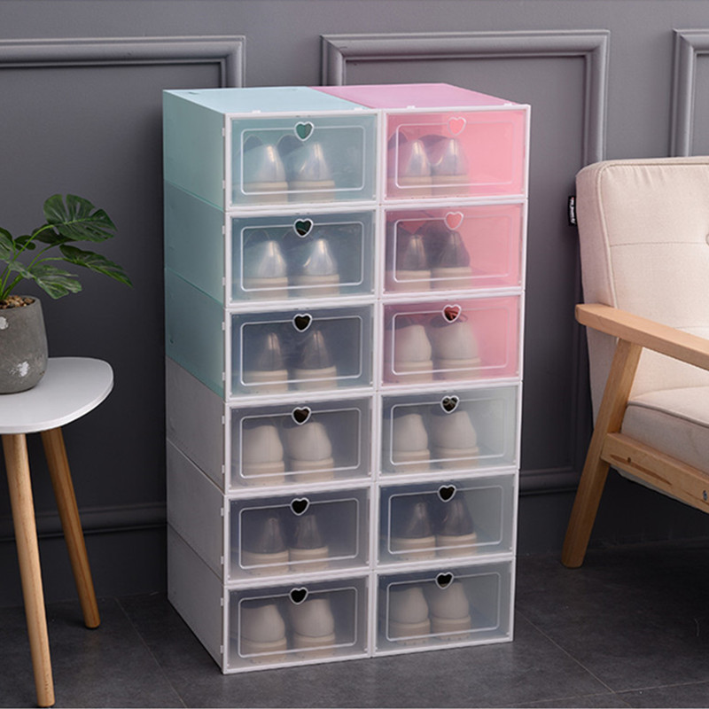 Transparent Shoe Box Drawer Case Stackable Combination Shoe Cabinet Thickened Dustproof Shoes Storage Boxes Shoes Rack Organizer