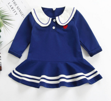 Blue Sailor Collar Dresses 2019 Autumn Preppy Style kids Girl Dress Baby Girls Clothes Cotton Girl Letter Dress 1--5T baby girl dress 2018 fashion navy style baby clothes pleated collar princess party birthday dresses sailor kids girls clothes