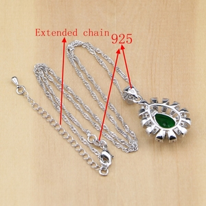 Image 5 - 925 Silver Jewelry Green Cubic Zirconia White Crystal Jewelry Sets For Women Earrings/Pendant/Necklace/Rings/Bracelet