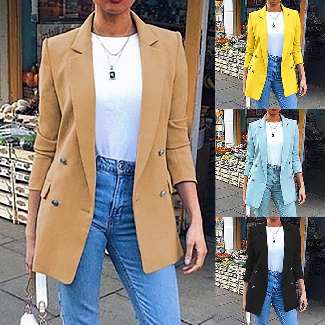 Fashion Nice Autumn Spring Women Blazer Jacket Long Sleeve Slim Blazers Suit Coat Office Ladies Outwear Solid Button Casaco Top