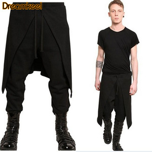 Trousers Men Plus Size Casual Drape Drop Crotch Hip Hop Pants Trouser Baggy Dancing Pants Gothic Punk Style Pants Men Wide Leg R