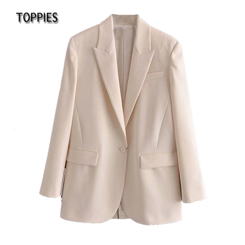 Toppies 2021 Spring Woman Blazers Casual Single Button Suit Jacket Solid Color Notched Collar Female Jacket 1