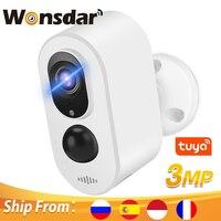 Cámara inteligente Tuya 4G con tarjeta SIM, cámara IP de seguridad inalámbrica de 3MP, WIFI, batería integrada, alarma PIR, APP Smart Life